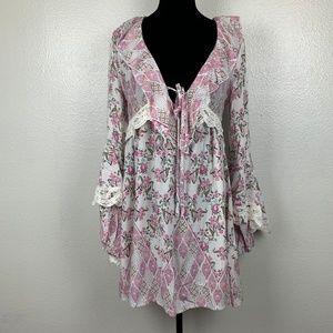 Jaase Anthropologie Boho Floral Tunic Dress